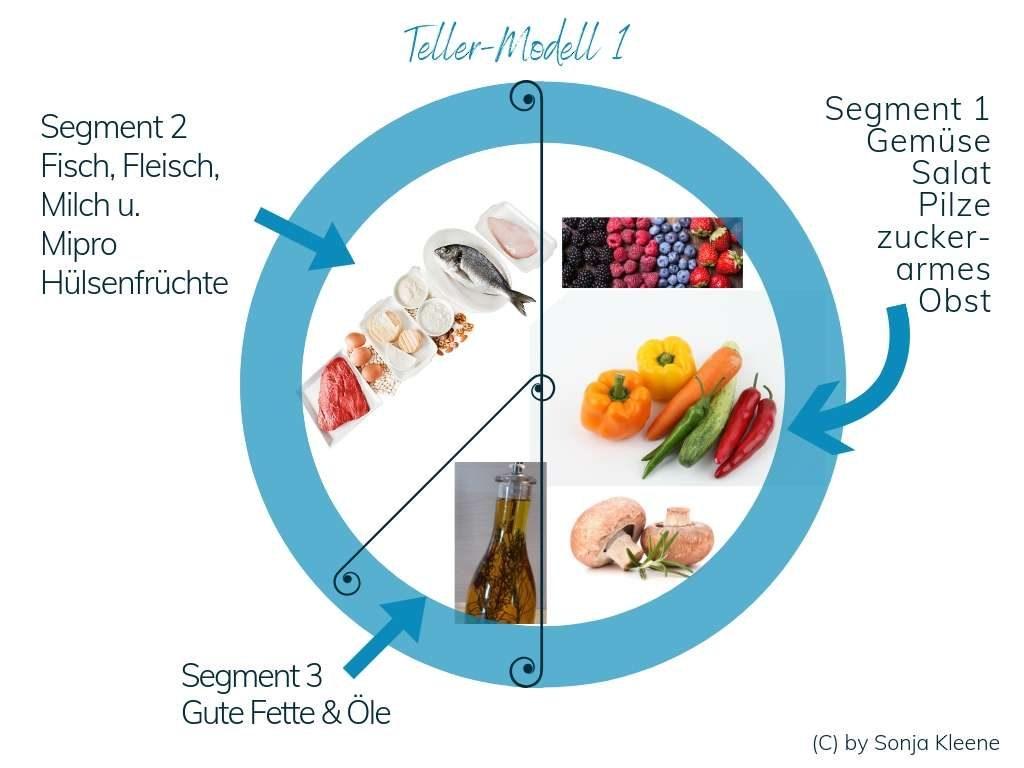 Das Tellermodell für die Umsetzung und Anleitung der Schlank-Strategie zum gesunden Abnehmen nach der Logi-Methode